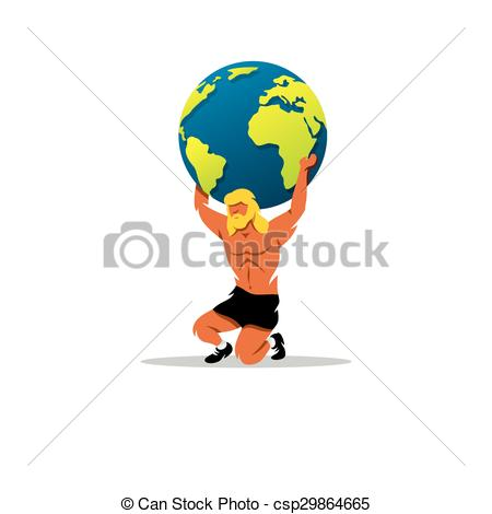 Clip Art Vector of Atlas sign. In Greek mythology, the mighty.