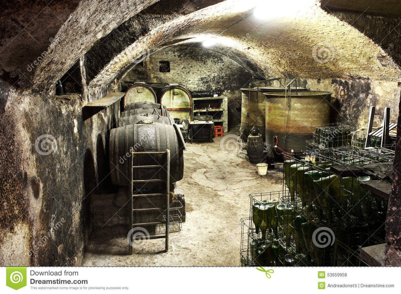 Interior Of A Vaulted Wine Cellar With Old Casks Stock Photo.