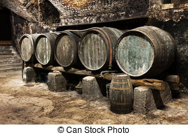 Stock Photo of Interior of a vaulted wine cellar with old casks.