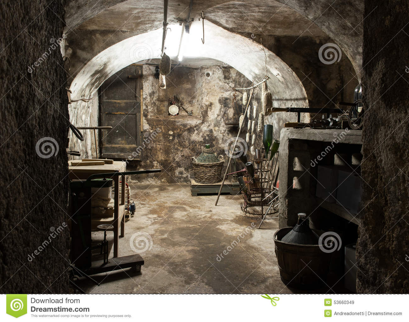 Vaulted Interior Of An Old Wine Cellar Stock Photo.