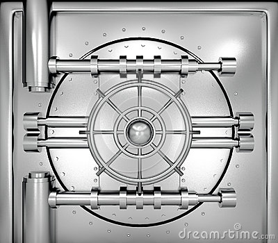 Illustration Of Bank Vault Door, Front View Royalty Free Stock.