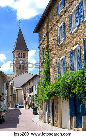 Stock Photography of MAIN STREET AND CHURCH VAUX.