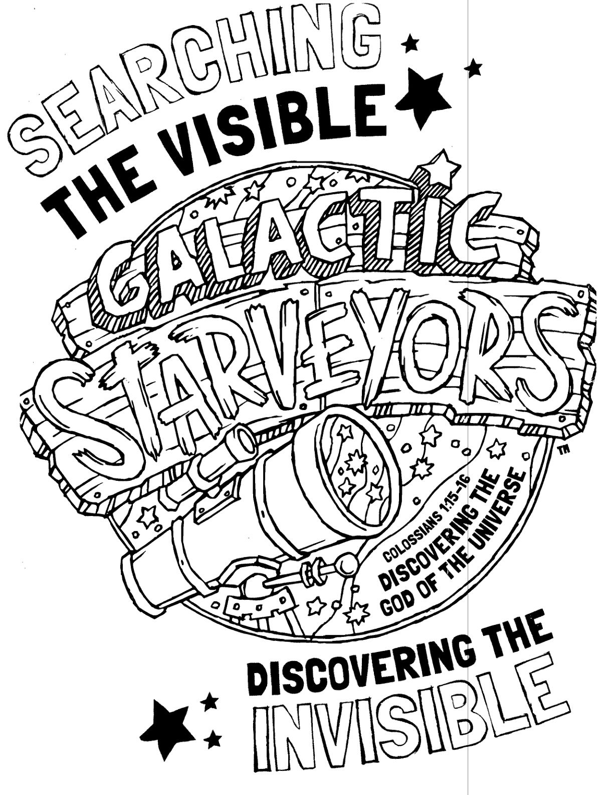 Galactic Starveyors coloring sheet for VBS 2017.