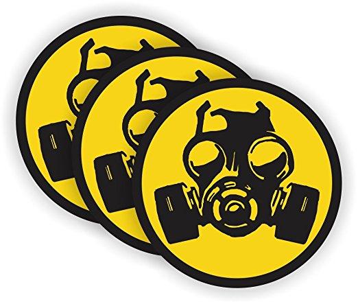 Gas Mask Symbol Hard Hat Sticker / Helmet Decal Label Lunch Tool.