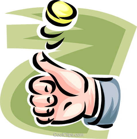 hand flipping a coin Royalty Free Vector Clip Art illustration.