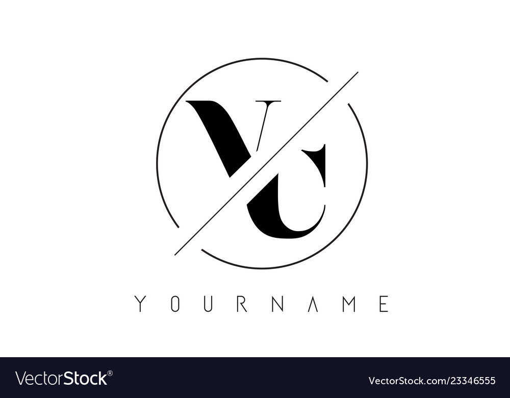 Vc letter logo with cutted and intersected design.