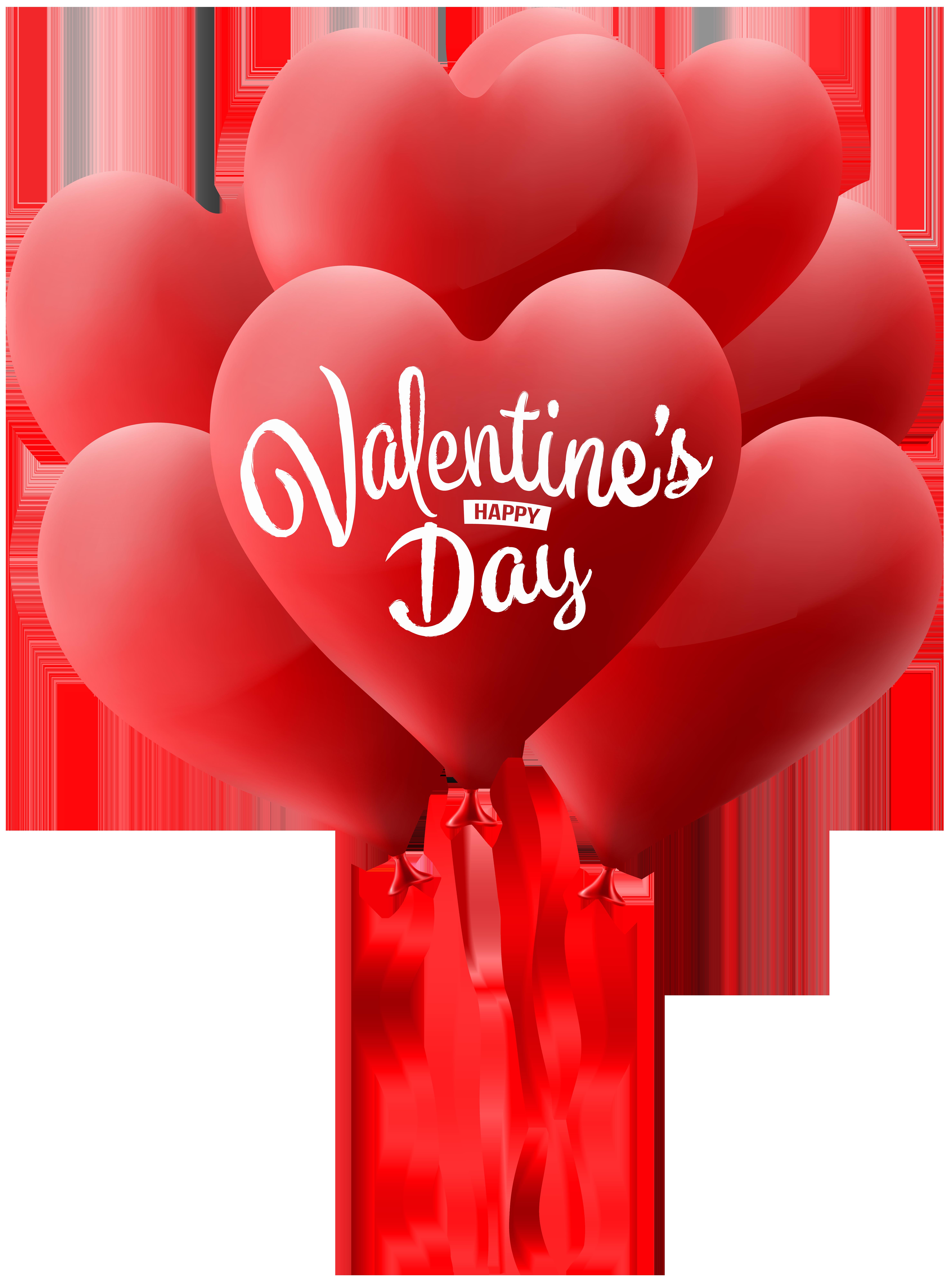 Vday Heart Balloons Clip Art Image.