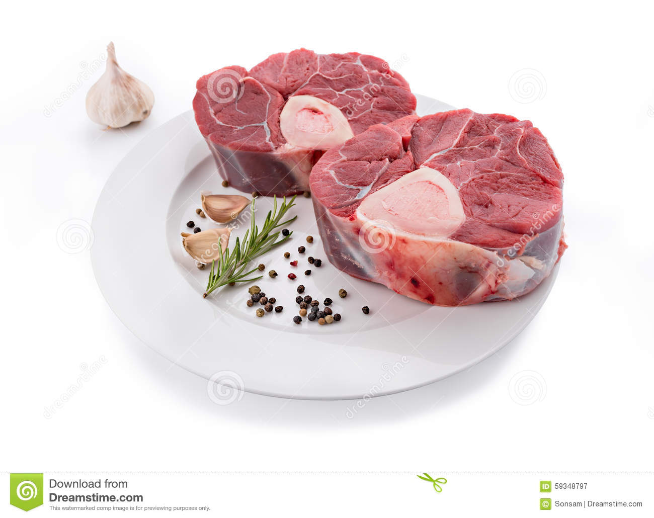Raw Veal Shank For Making OssoBuco Stock Photo.