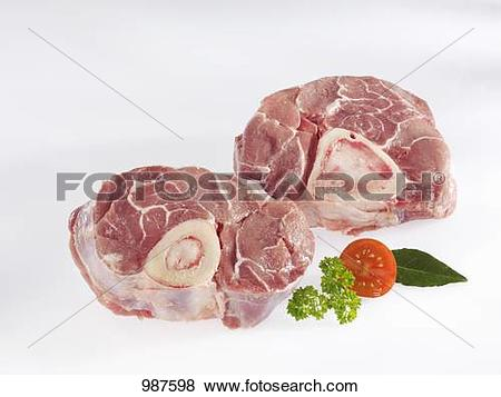 Pictures of Slices of raw veal shank 987598.