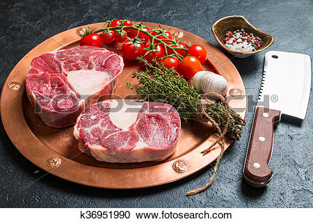 Stock Photography of Raw veal shank slices meat k36951990.
