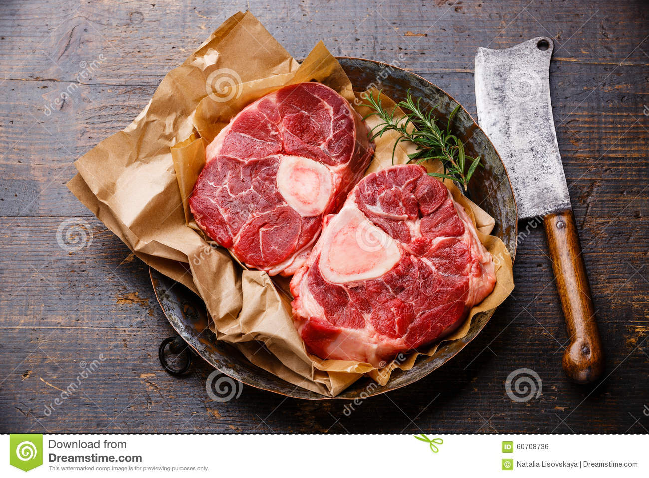 Raw Fresh Cross Cut Veal Shank For Making Osso Buco On Metal Cop.
