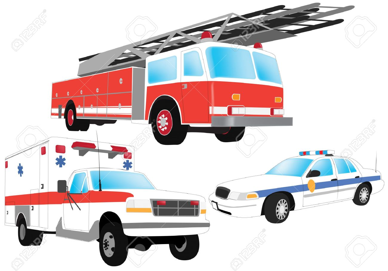 Emergency vehicles clipart.