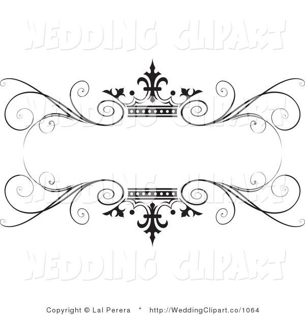 Vector Marriage Clipart of a Wedding Ornate Black Swirl and.