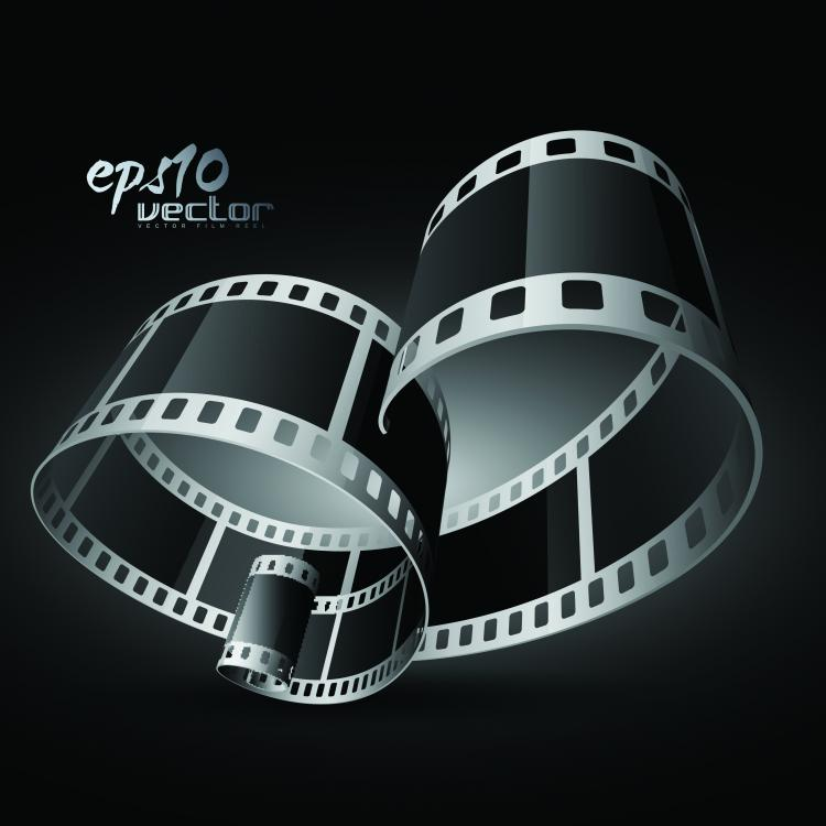 Black and white film clip art 3d (98188) Free EPS Download.