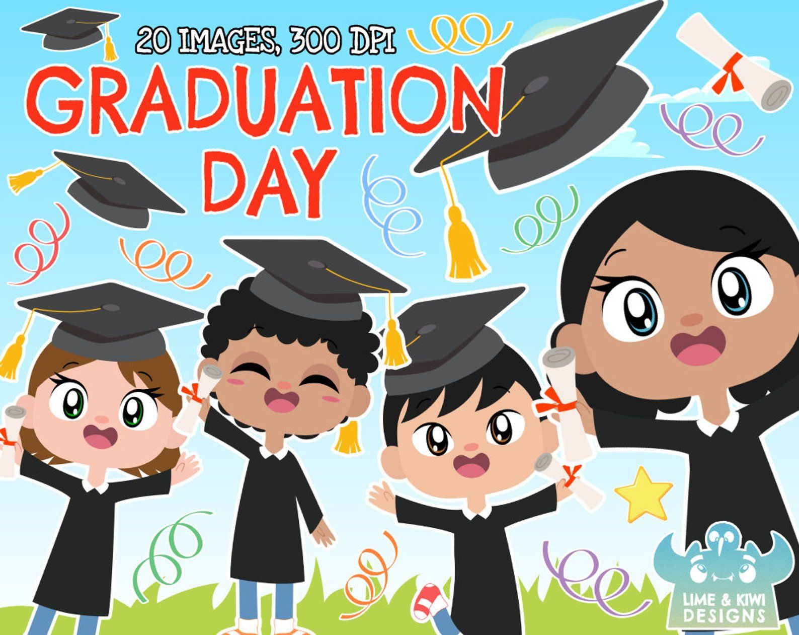 Graduation Day Clipart, Instant Download Vector Art.