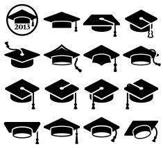 College Graduation mortar board graduation cap vector icon.