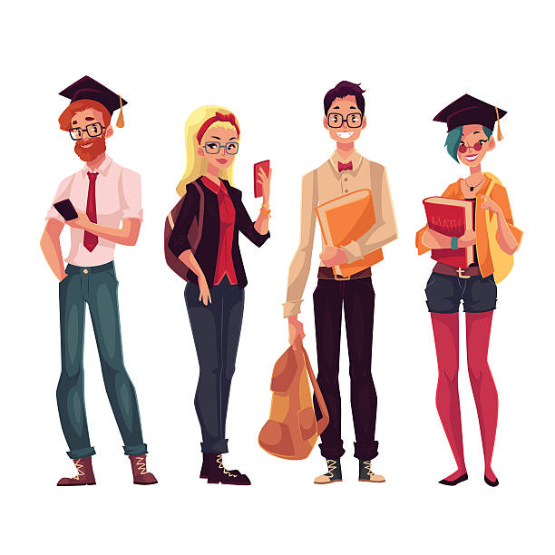 Group Of College Students Clipart.