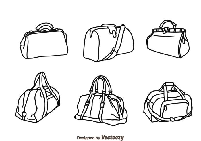 Vector Bag Isolated Icons.