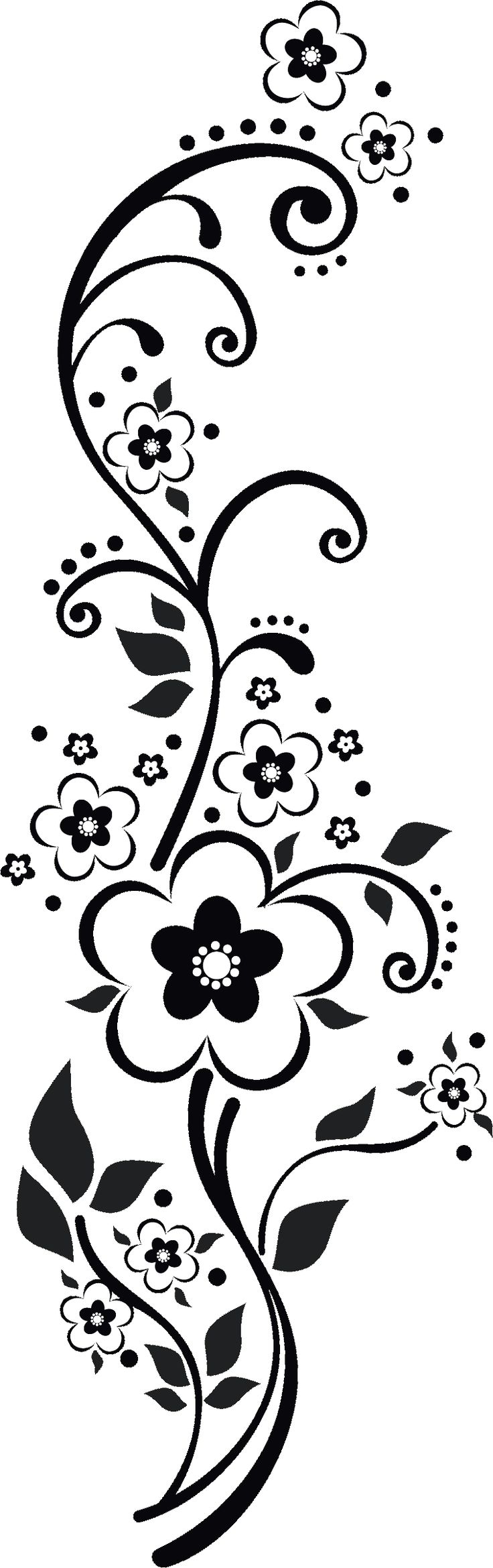 Flowers Design Black And White Png.