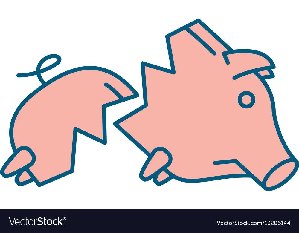 Sad broken piggy bank or money box.