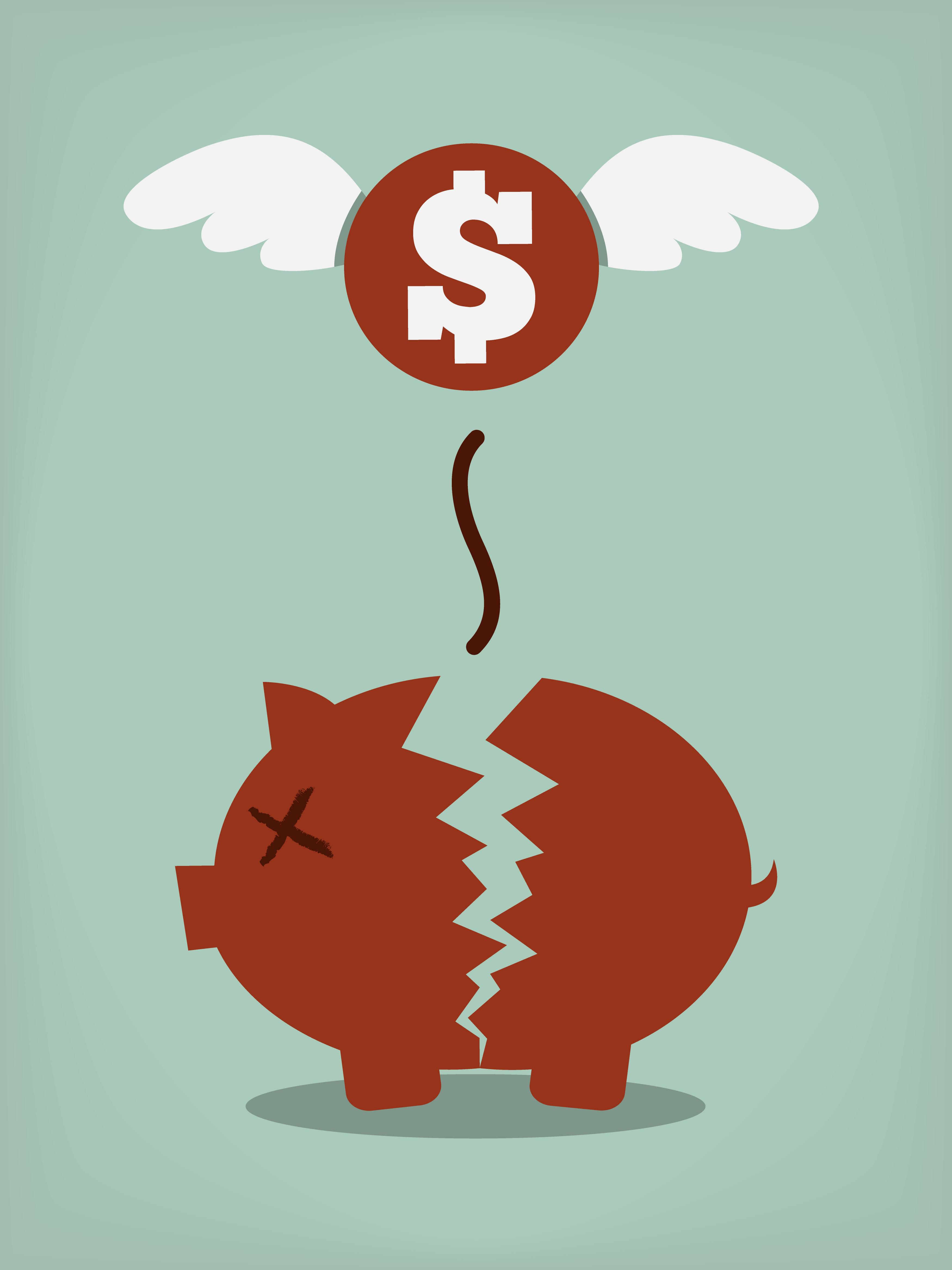Broken Piggy Bank Free Vector Art.