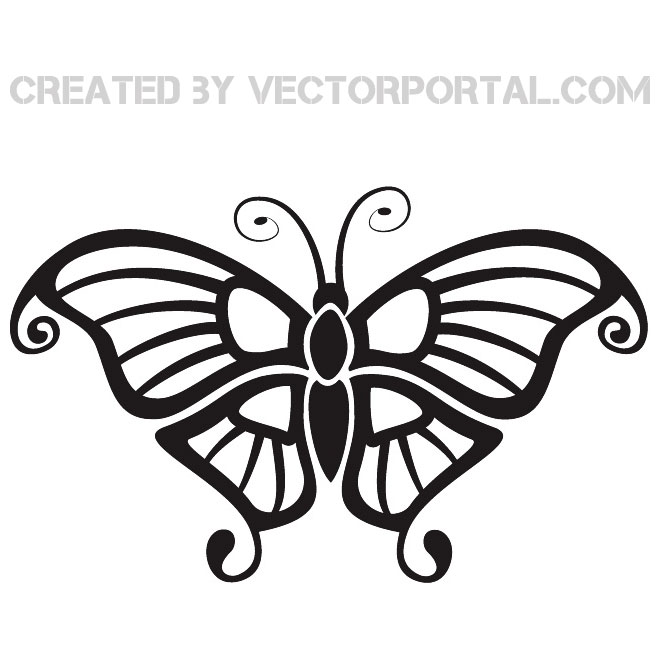 Black Butterfly Clip Art Free Vector.