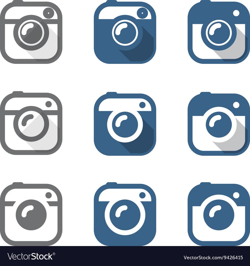 Vintage photo camera icons clipart Minimalism conc.