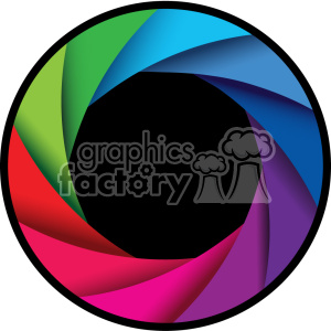vector camera shutter colorful shaded design with border icon clipart.  Royalty.