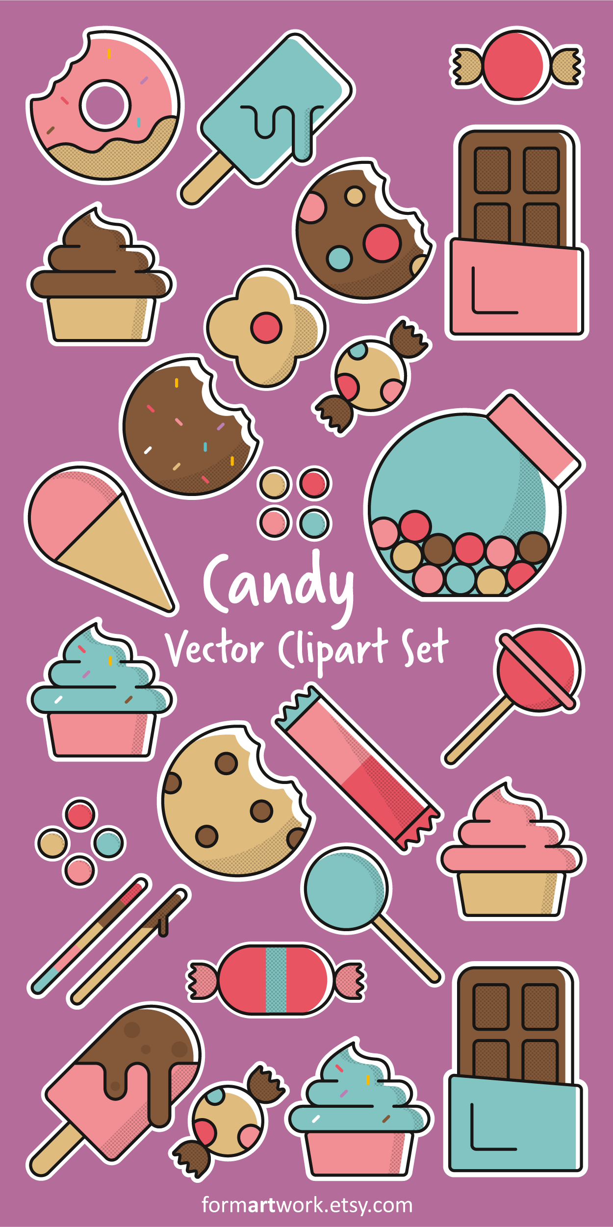 Candy Vector Clipart Commercial Use.