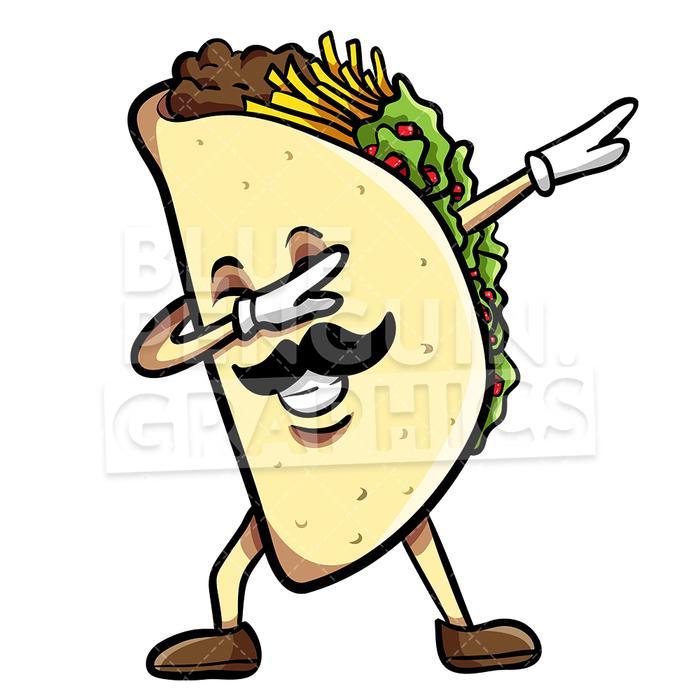 Taco Dabbing With Sombrero Mexican Vector Cartoon Clipart Illustration.