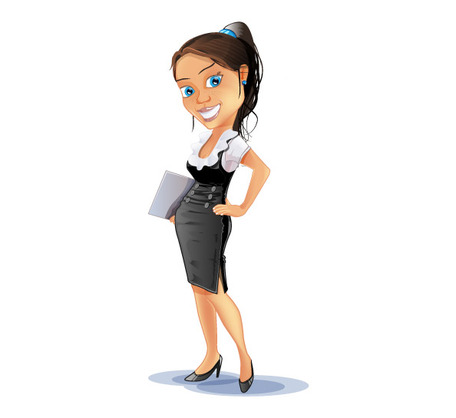 Successful Business Woman Vector Character, Clipart.