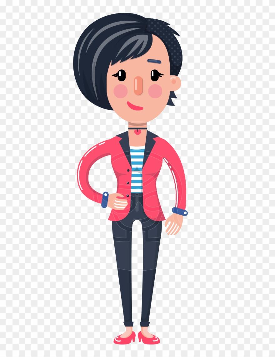 Cartoon Girl With Short Hair Vector Character.