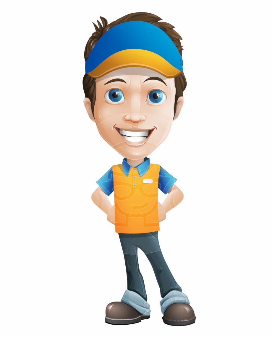 Charming Courier Guy Cartoon Vector Character Aka Tony.