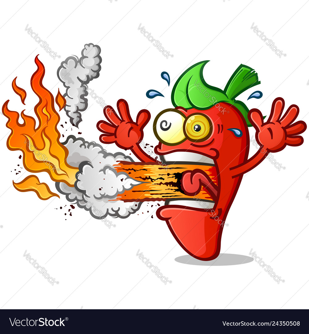 Hot pepper cartoon erupting fire out his mouth.