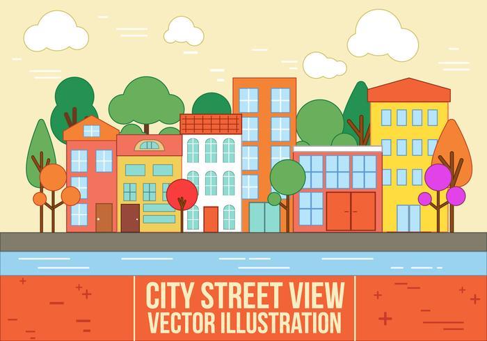 Free Vector City Street View.