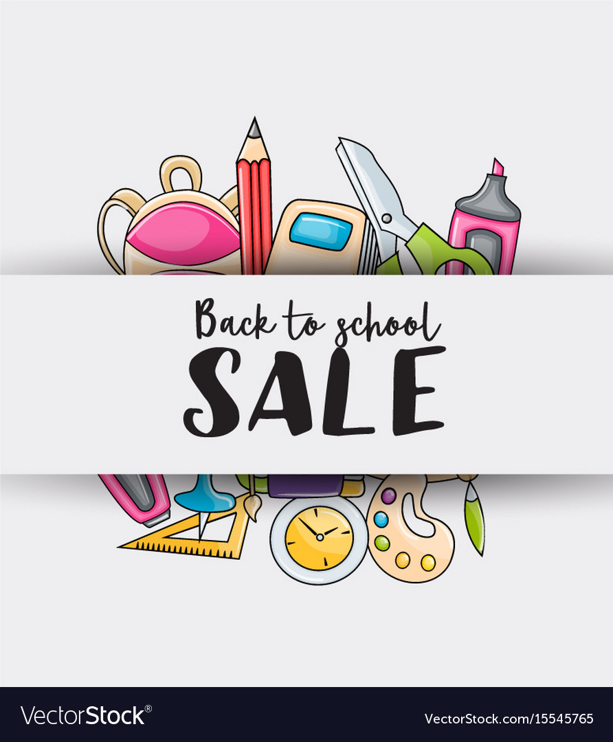 Back to school sale doodle clip art greeting card.