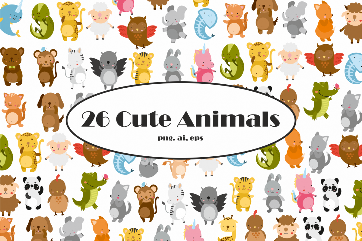 Cute Animals Vector Clipart.