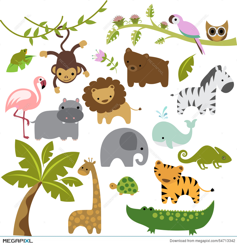 Baby Zoo Animals Vector Clipart Illustration 54713342.