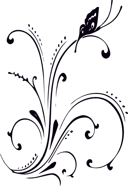 Black And White Butterfly And Scrolls clip art.