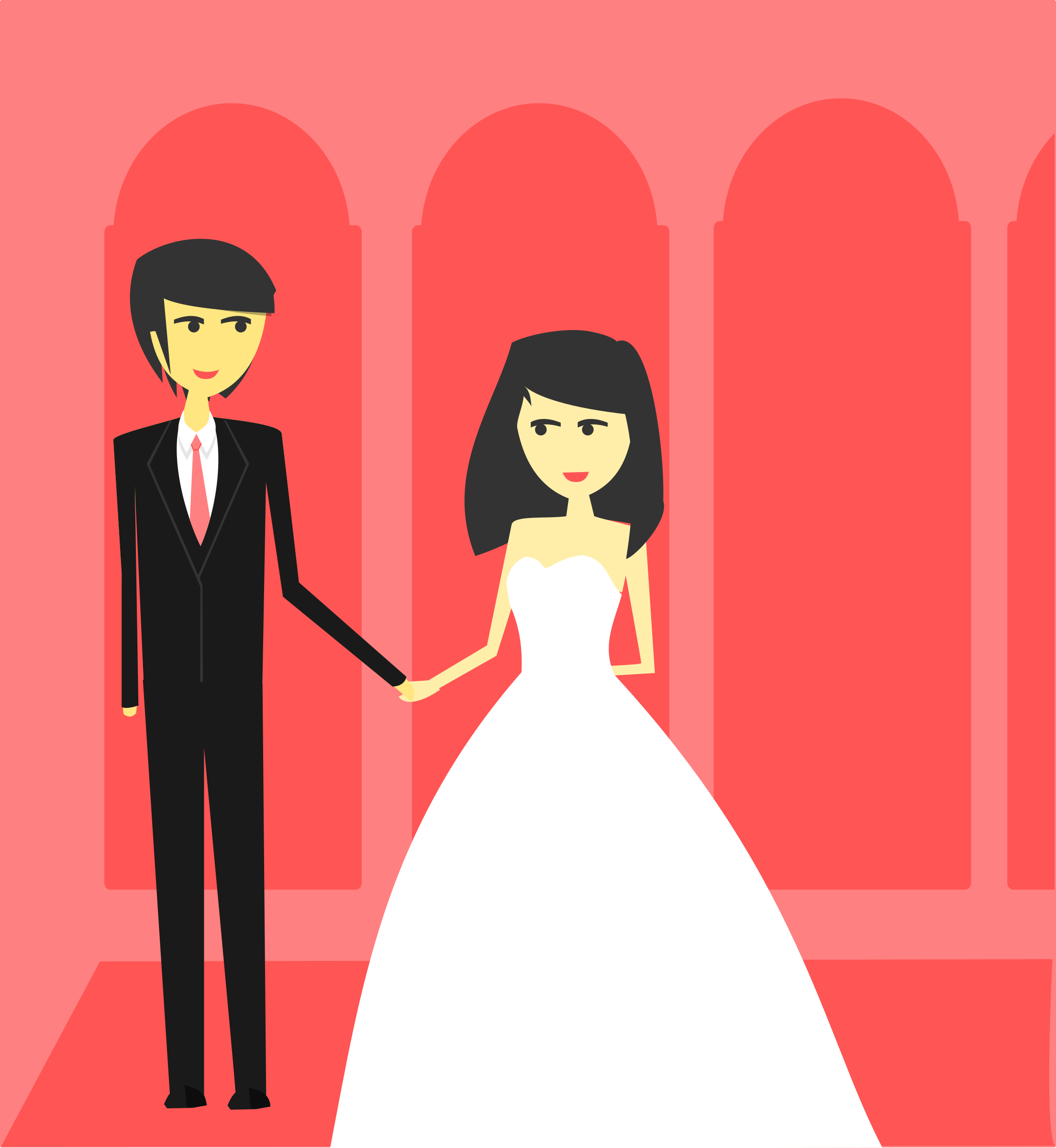 Bride and Groom Wedding Vector Clipart image.