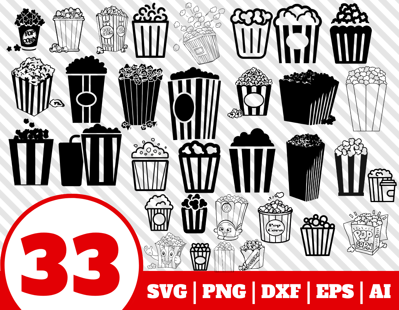 33 POPCORN SVG BUNDLE.