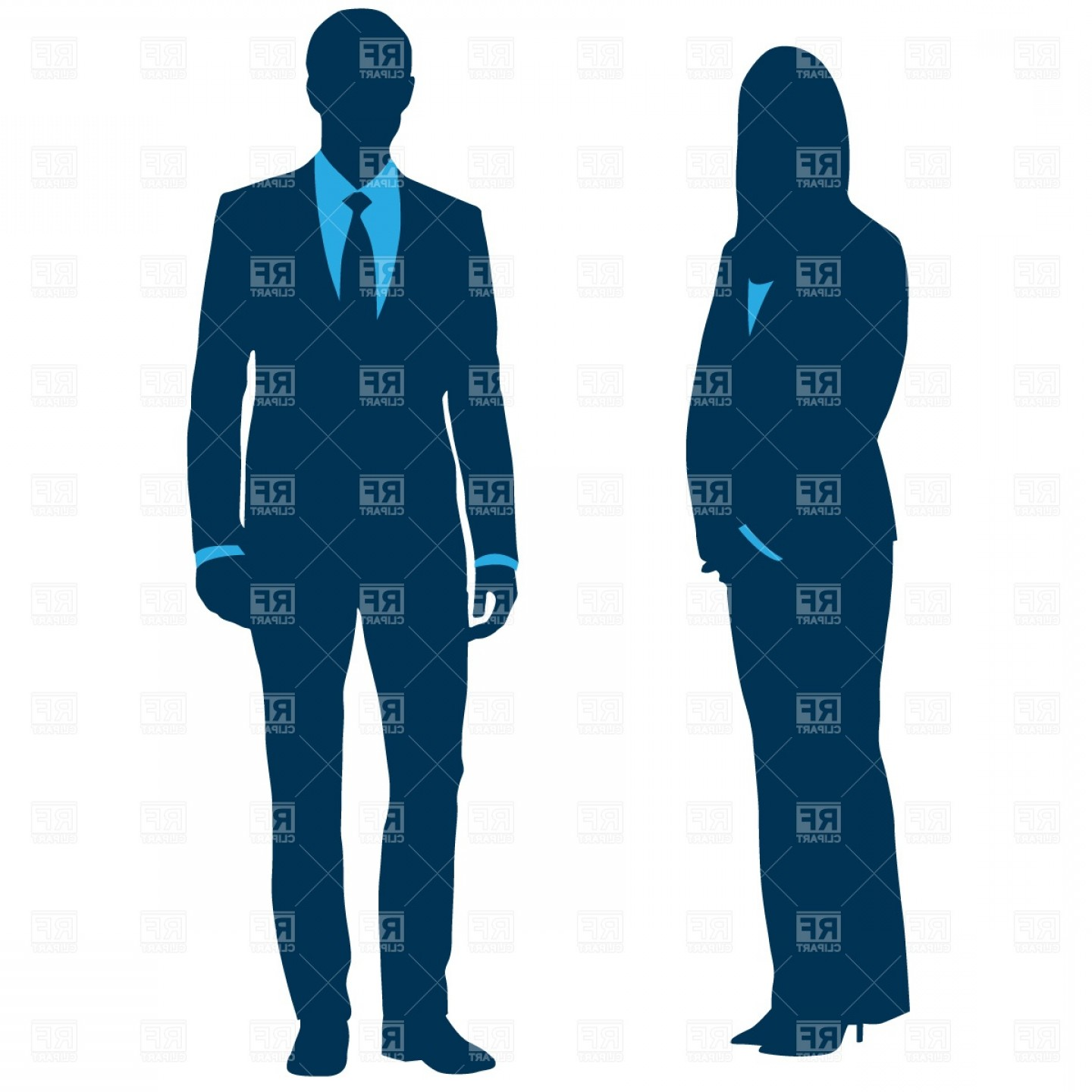 Office Workers Businessman And Businesswoman Vector Clipart.