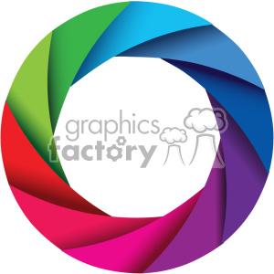 vector camera shutter colorful shaded design no border icon clipart.  Royalty.