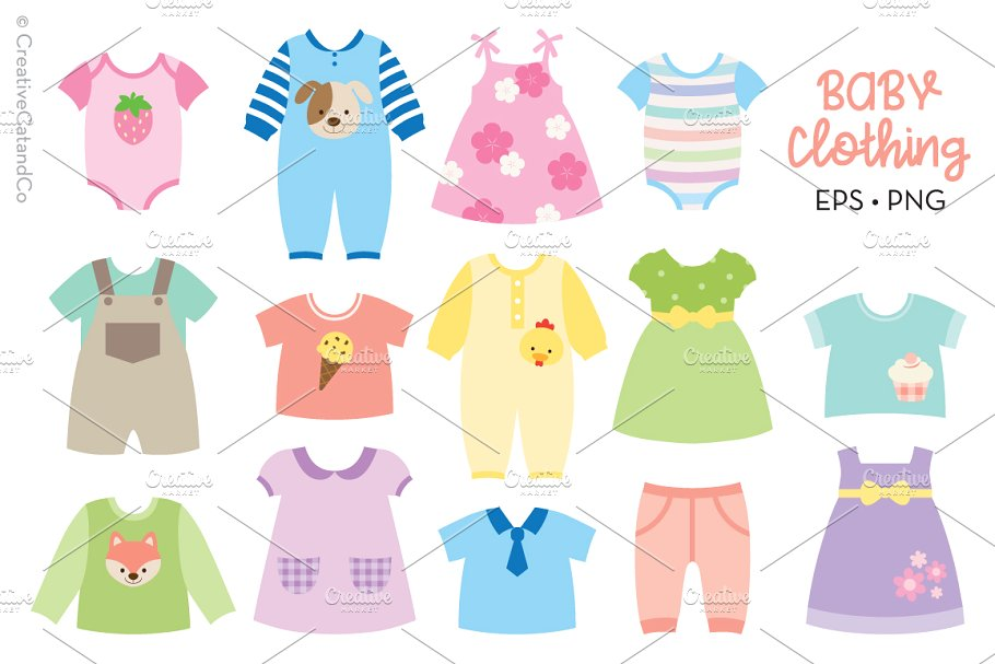 Baby Clothing Vector and PNG.