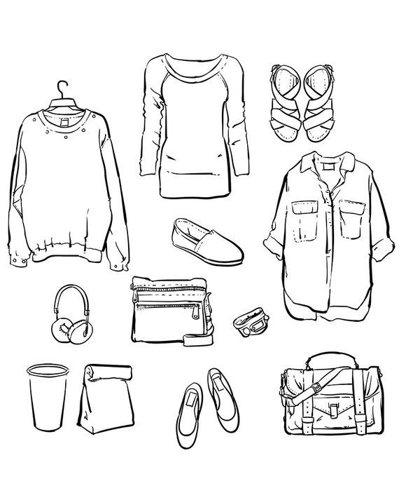 Vector fashionable women\'s clothes clipart commercial use.