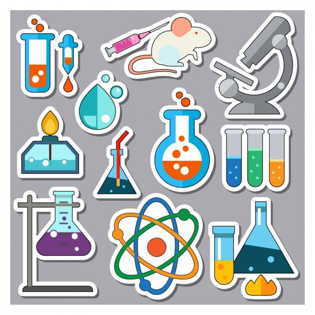 Science elements stickers collection Vector.