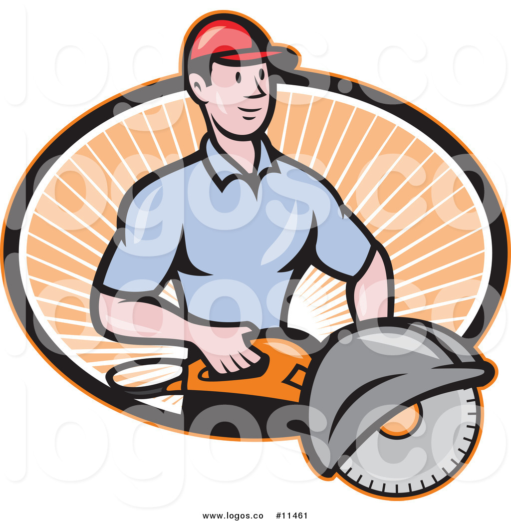 Royalty Free Clip Art Vector Cartoon Worker Man Holding a.