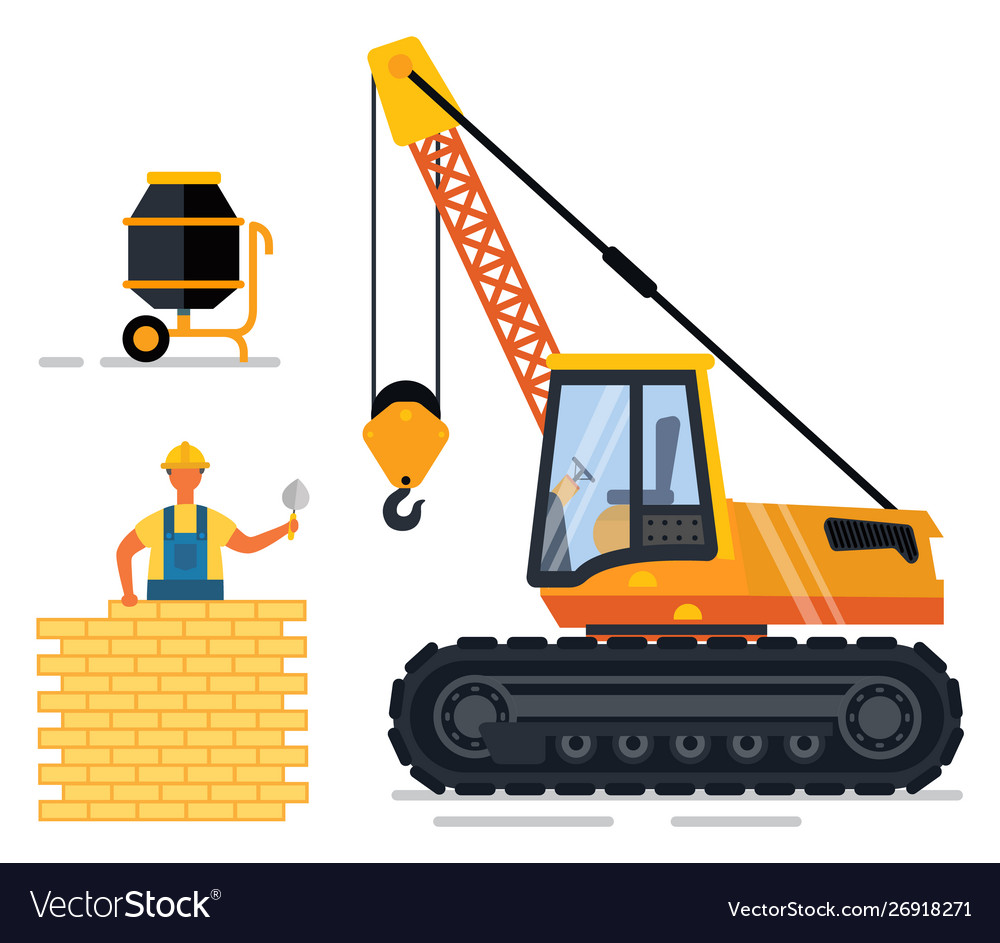 Construction equipment and man building wall set.