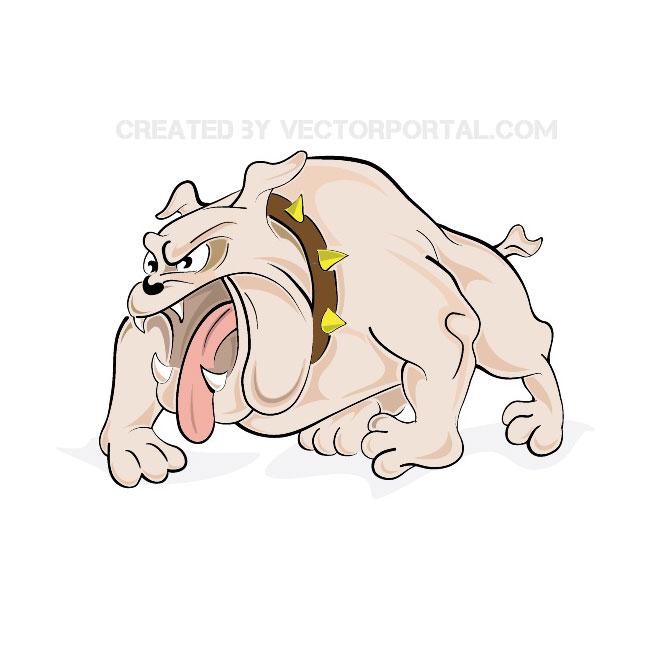 Angry bulldog free vector.