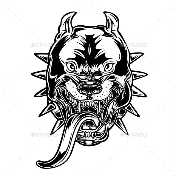 Angry Bulldog Pitbull Head Crazy Vector by sathitpong.